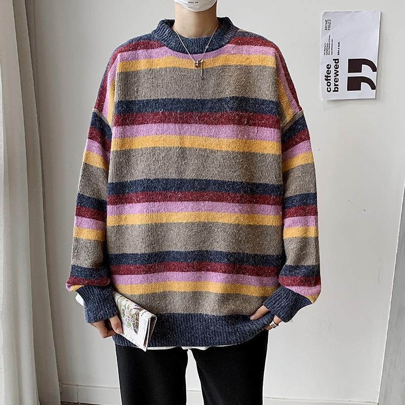 Красочный Полосатый свитер мужчин корейский стиль Трикотаж Студенты свитер осени Boy Свитера