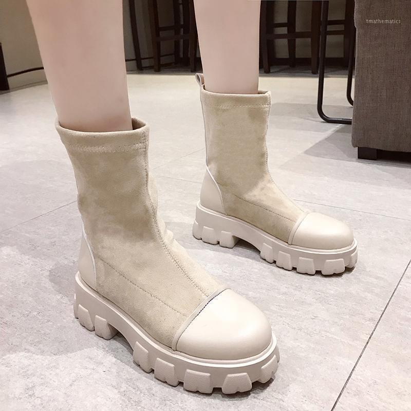 Çizmeler marka kadın ayakkabı yuvarlak ayak botlar-kadınlar moda ayak bileği lolita kauçuk kaya med bayanlar 2020 roma temel kare topuk1