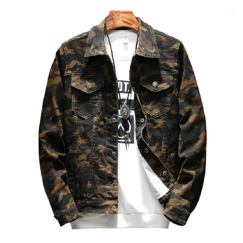Masculina Outwear Jaqueta Masculino Jeans Chaqueta y abrigos Diseño de moda COMPRA DE FRANZA DE OTOÑOS MENS Camuflaje Denim Jacket Coat1