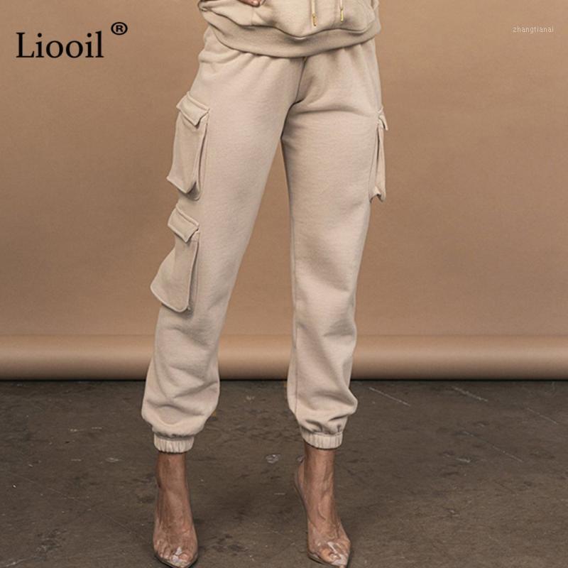 Liooil повседневная высокая талия спортивные штаны женщины 2020 осень зима черные белые кружева с карманами женские свободные пробежки брюки1