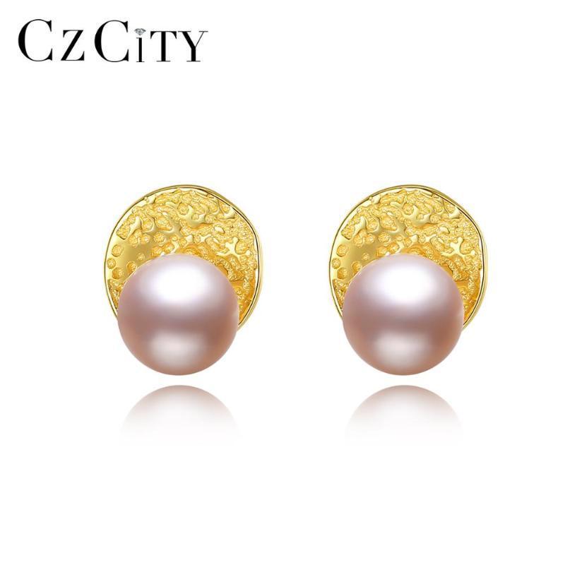 Pendientes moneda redonda CZCITY irregular natural de las perlas de la Mujer 100% 925 regalos de joyería de plata esterlina Citas Bellas FE-0284