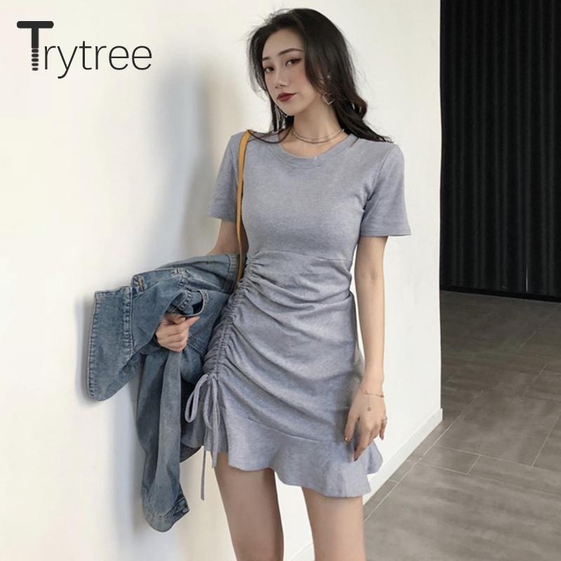 Trytree verão outono casual vestido sólido mulheres elástico o-pescoço sexy t shirt vestido lado cordão ruffles hem mini bainha vestido t200117
