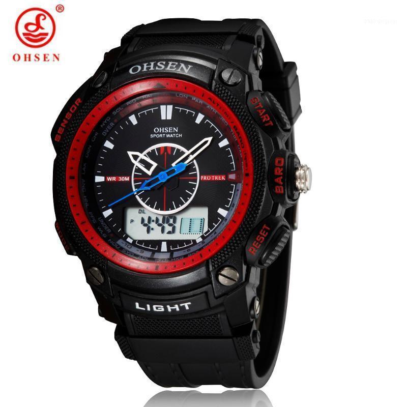 Saatı Ohsen Erkekler Spor İzle Kuvars Su Geçirmez Bilek Çok Fonksiyonlu Oto Tarihi Kronometre Relogio Masculino Analog LED Watches1