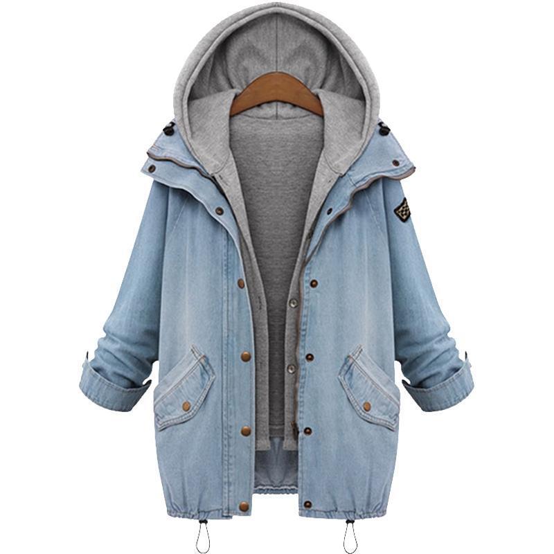 Atacado - mulheres casuais jaqueta jean jaqueta dois pedaço conjunto jeans jaqueta com capuz plus size grandes casuais casaco casaco outwear