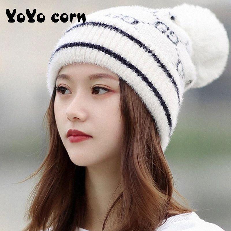 YOYOCORN Outono E Knit Inverno Hat Fêmea Com bola de lã Cap Bola Cerda Imitação Hat Quente Imprimir Cuffed LASG #