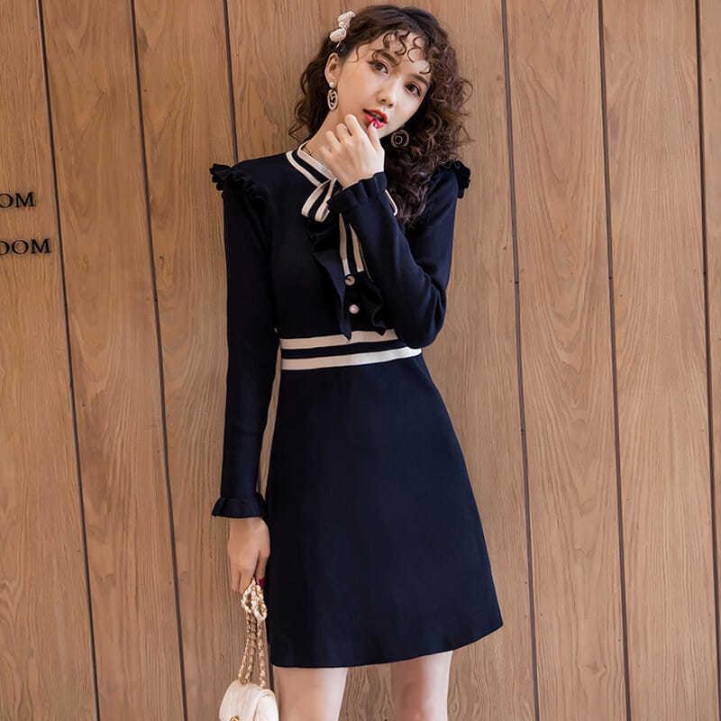 GÜZ 2021 Yeni Örgü Kadın Elbise Uzun Kollu Tek Göğüslü Çizgi Zarif Bayanlar Giyinmiş Y264 QYL9
