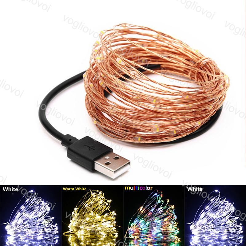 LED Strings 5V 5M 10M Copper Wire Lights USB Connector Fairy light For Christmas Halloween Home Wedding Party Decoration DHL
