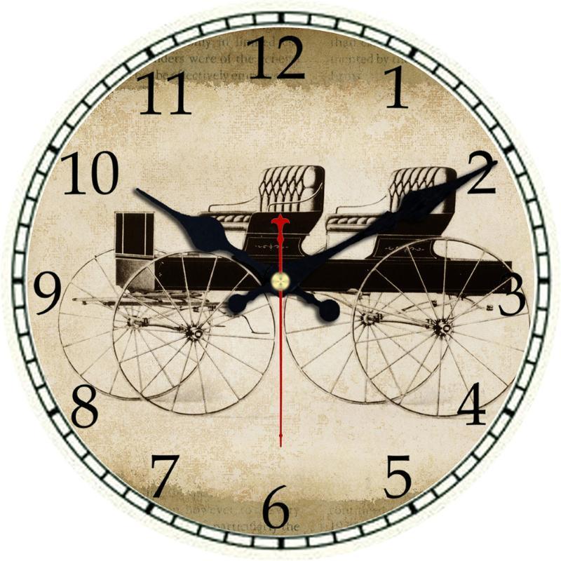 Design Vintage Auto Historische Kutsche Römische Ziffer Holz Wanduhr Große europäische Alte Zeit Auto Kreative Runde Wanduhr