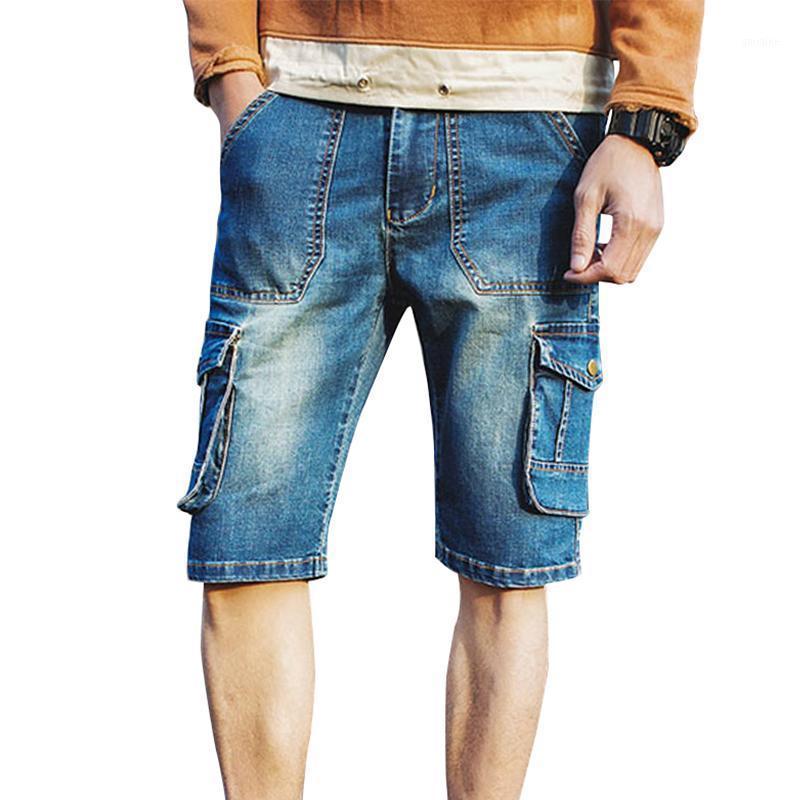 Venta al por mayor- Nuevos pantalones cortos de mezclilla de verano Hombres bolsillo casual decorar hombres pantalones cortos de carga lavados algodón hombres jeans pantalones cortos azul talla grande 40 L5761