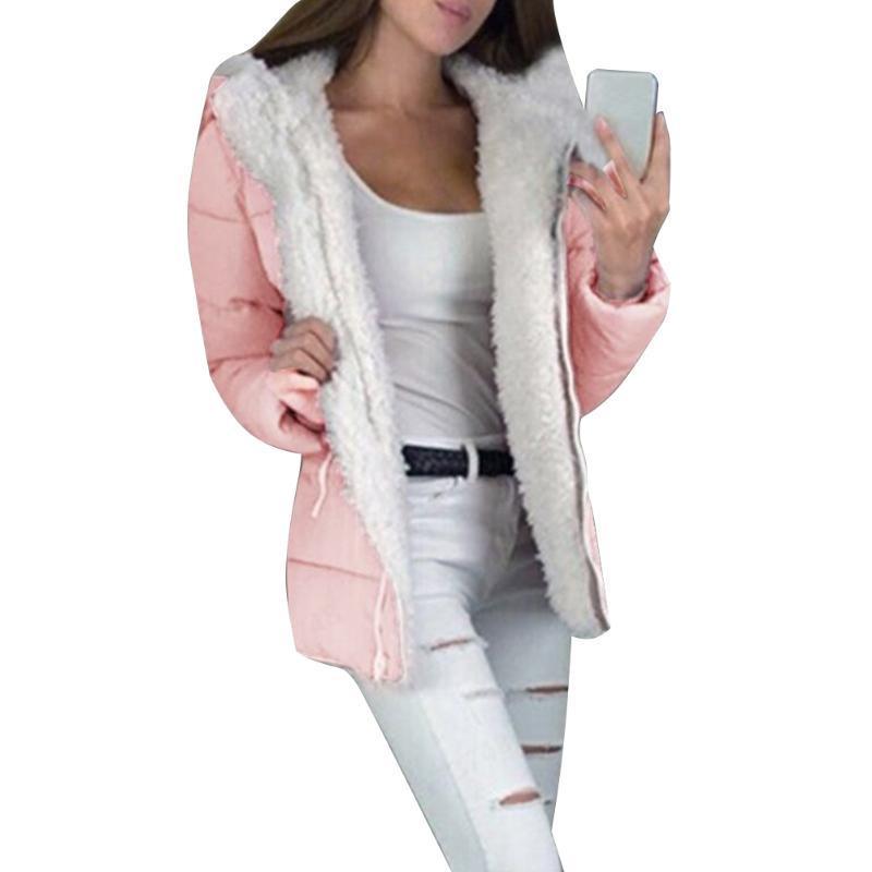 Mulheres casaco de inverno com capô casual quente sólido planície zip mais veludo ultra luz À prova de vento moda grossa acolchoada solta