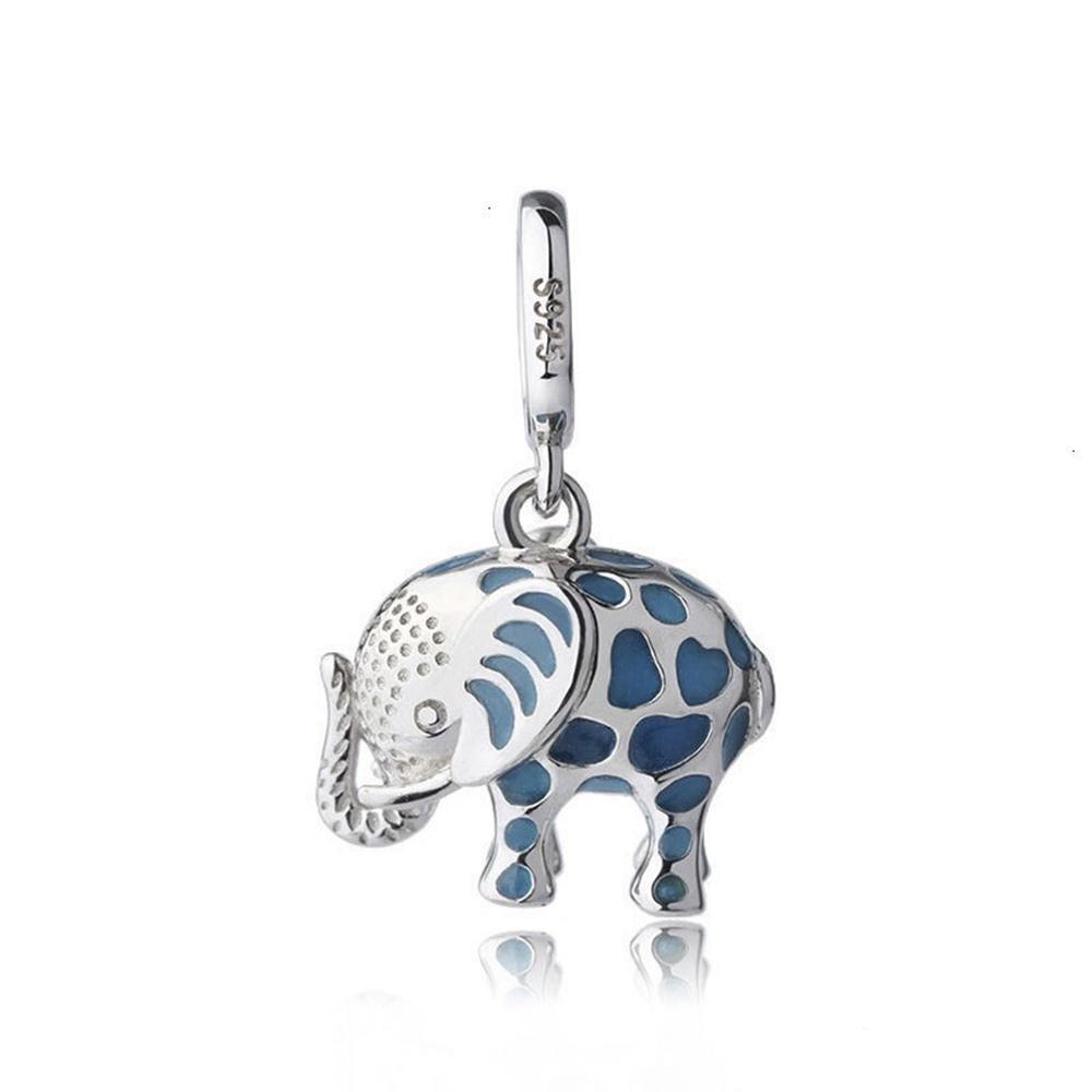 Серебрянные S925 животных Браслет Loose Бусины Подвески Аксессуары Малый Летающий слон капли нефти Малые Кулоны Подвески Diy