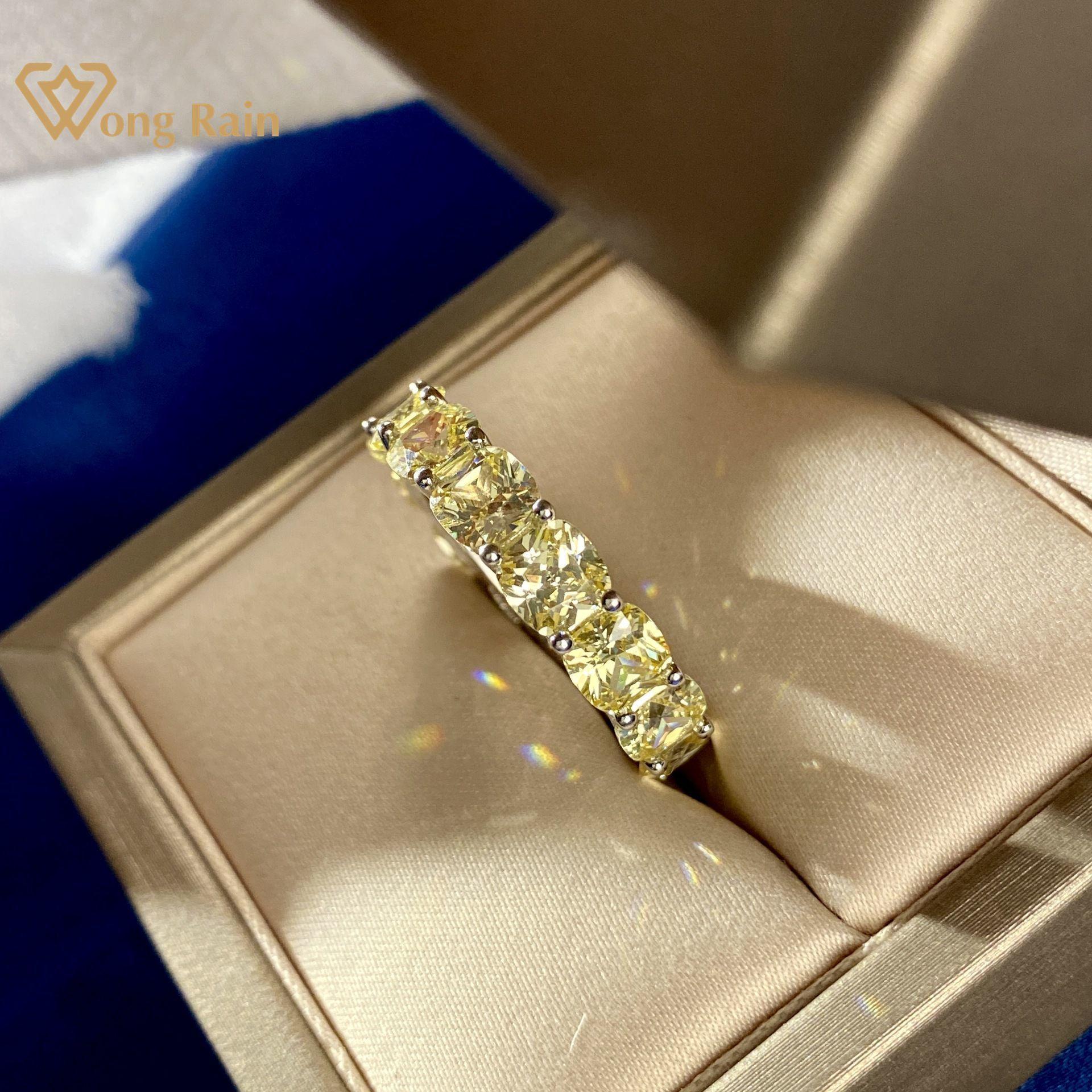 Wong Yağmur 925 Ayar Gümüş Sarı Oluşturulan Mozanit Elmas Taş Düğün Band Nişan Yüzüğü Güzel Takı Toptan Y0122