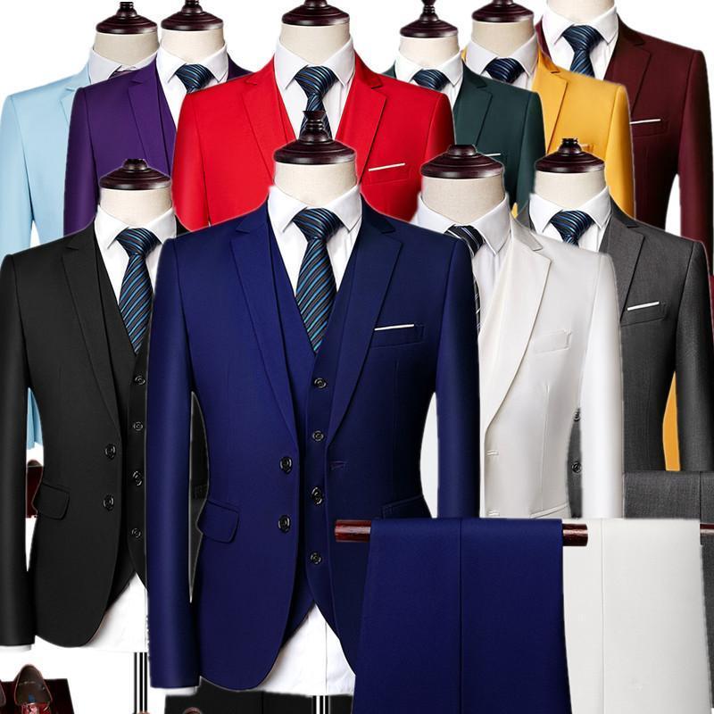 10 Colors Selection Men Formal 3 Piece Set( Jacket+Pant+Vest) Autumn Male Suit Blazer Coat Trousers Waistcoat Tuxedo S-6xl