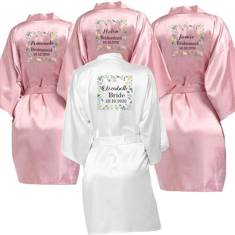 Bridesmaid Gift team bride Bridal Party Robes Satin Kimono Robes women short pajamas dressing gown