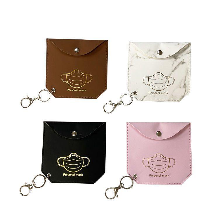 Маска для хранения сумки Кожи PU клип маски хранения сумки Портативный Девушки брелоки Holder пыл Маски Крышка карта Аксессуары 4 Дизайна OWC3622