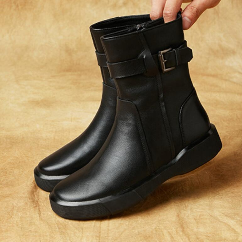 Top layer cowhide Martin boots British style autumn and winter women's shoes low heel holiday gift for women