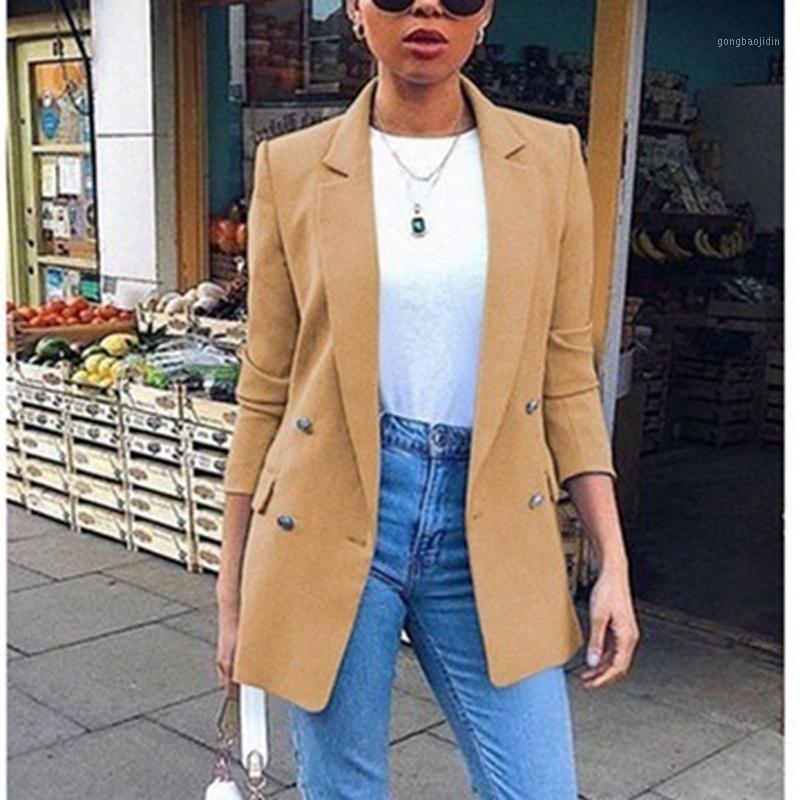 Laamei Casual Manga Longa Color Sólida Girl-Down Collar Casaco Lady Negócios Jaqueta Terno Casaco Slim Top Mulheres Blazers Feminino 20201