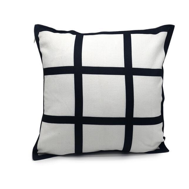 100pcs Sublimation taie d'oreiller panneau Taie 9 Blank grille noir tissé housse de coussin transfert de chaleur polyester jet taie canapé