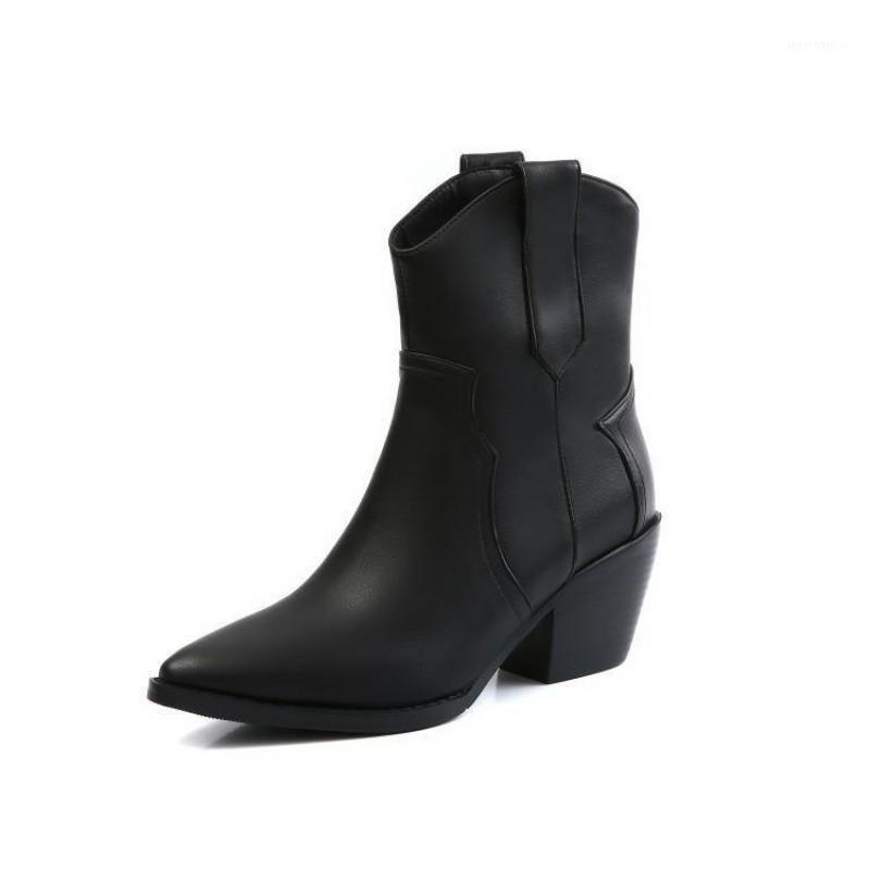 أحذية الكاحل للنساء كعب سميك أحذية قصيرة فارس دراجة نارية أشار الغربية رعاة البقر أحذية بيضاء أسود