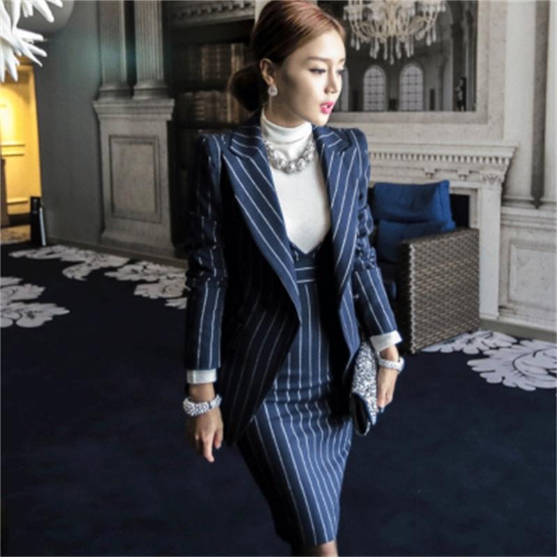 Abito Donne ZAWFL stripe set Top Abiti e Bodycon vestiti eleganti signore dell'ufficio Ufficiale Workwear abbigliamento da lavoro OL 201012