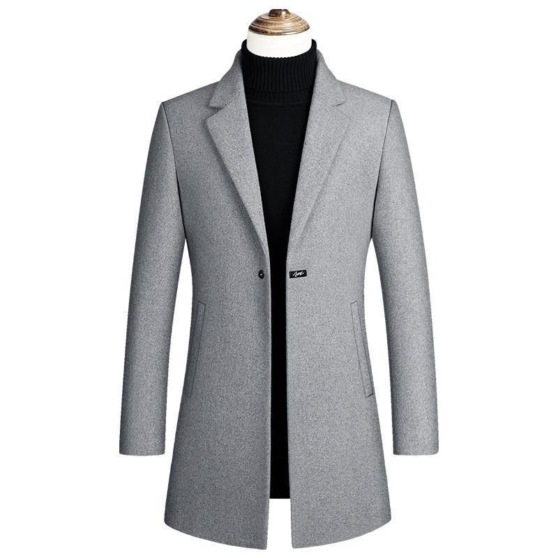 de Jackets Men Mens de alta qualidade Lã Inverno Jacket Brasão Men Casual Slim Fit Quente lapela Trench coat de lã Casacos roupas masculinas