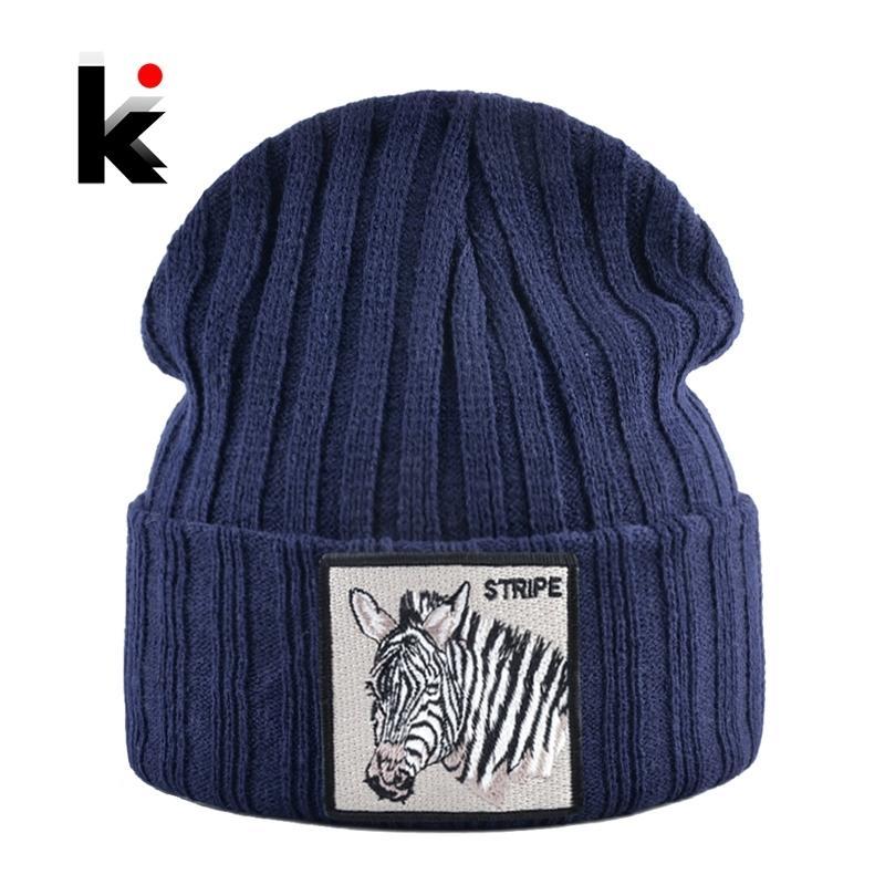 Вязаные шапки для мужчин осень осень зима черенок шапочки с вышивкой Zebra Patch мода вязание шляпа женщины хип-хоп Gorras Y201024
