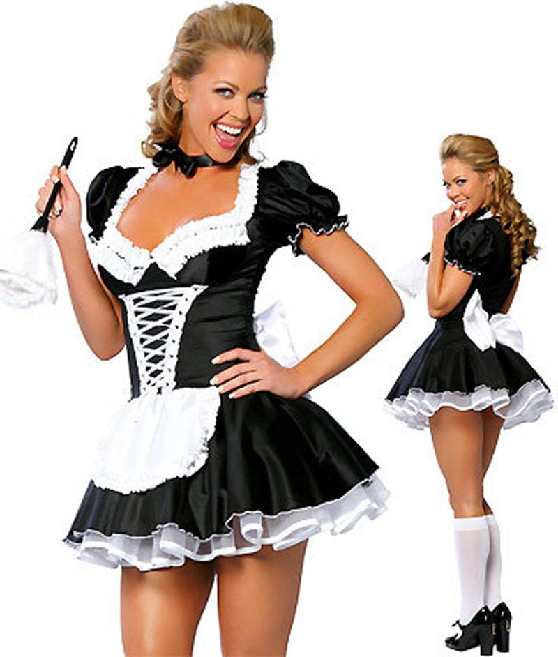 Lady Sexy Francese Cameriera Della Cameriera Costume Fancy Dress Costume Servo Outfit Halloween M8373