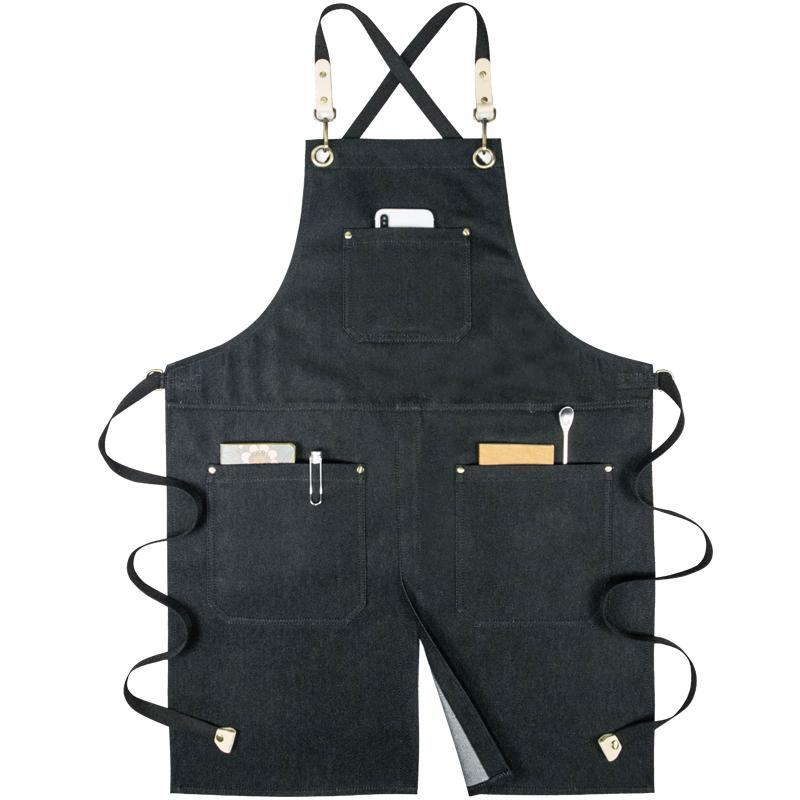 trabalho pano denim avental homens e mulheres compras macacão divisão garfo cintura bib avental com bolsos imprimir o logotipo