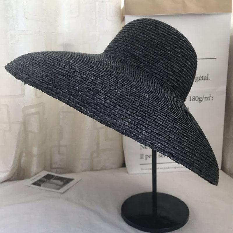 Mulheres elegantes tipo de Bell 15 centímetros Big sol aba larga ocasional palha de trigo naturais Praia Verão sombra das senhoras chapéu 201015