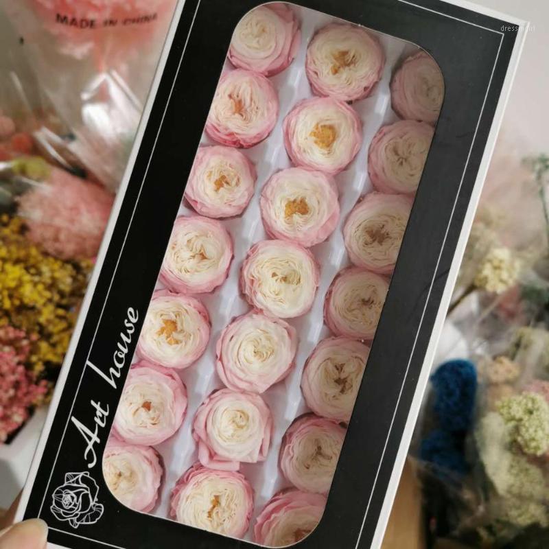 2-3 cm / 21pcs, grado A conservado Austin Rose Flower Four, flores de rosa eterna para la decoración de la fiesta de bodas, caja de regalo del día de evento favor1