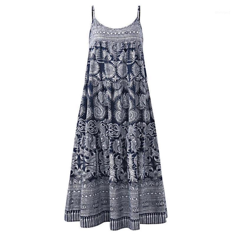 Women Dresses Summer Women Boho Sleeveless Floral Print Spaghetti Straps Large Hem Loose Long Dress1