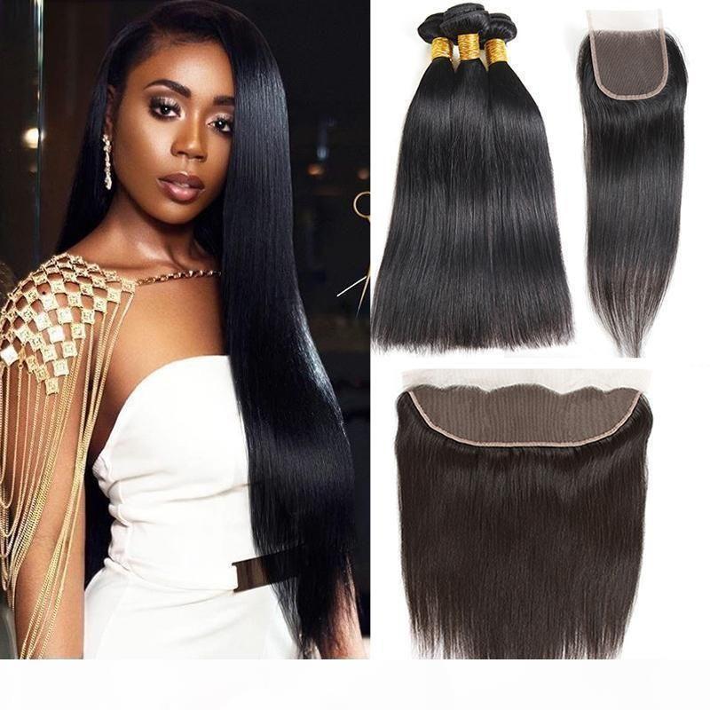 Raw Virgin Indian Straight Hair Tramas de cabello con cierre 8A Paquetes de cabello humano brasileño sin procesar Brasileño de onda humana con rizado frontal de agua profunda