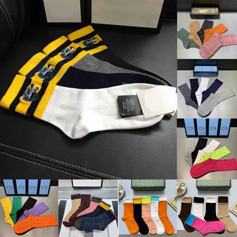 2021 Nuovo contenitore di regalo Set Designer Designer Mens Socks Lupo Fashion Ricamo Casual Tigre Pure Pure Cotton Sport Inverno Uomini Ricamo Calzini di alta qualità