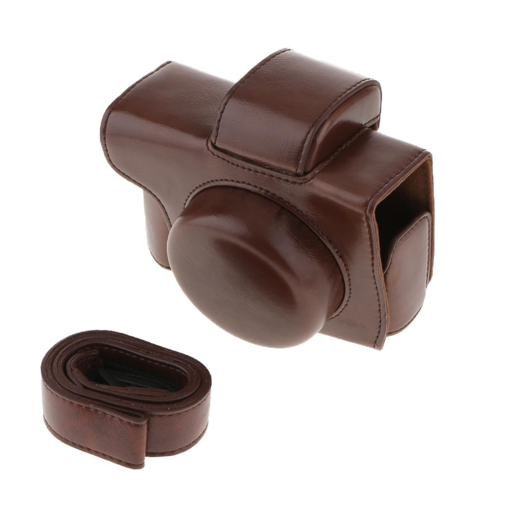 Caja protectora (café) PU bolso de la cámara para Olympus E-M10 II EM10II lente corto