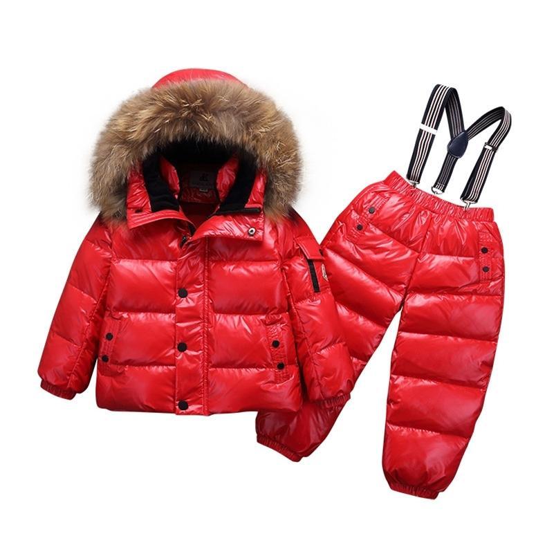 -30 Степень зимняя детская одежда наборы одежды мальчик девушки белый утка вниз снег одежда толстые пальто комбинезон куртка детская одежда костюм 201126