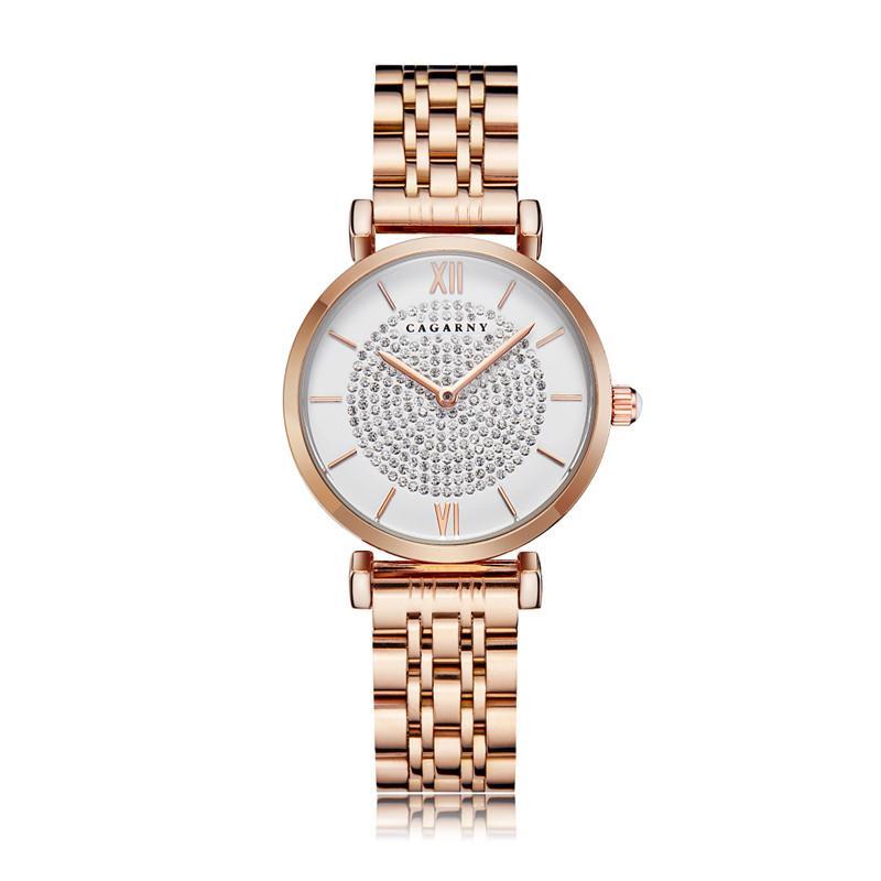 İzle Kadınlar Lüks Moda Casual Diamonds Bayan Kuvars Saatler Montre Femme Saat Gül Altın Stainelss Çelik Tasarımcı Saatler Reloj de Lujo
