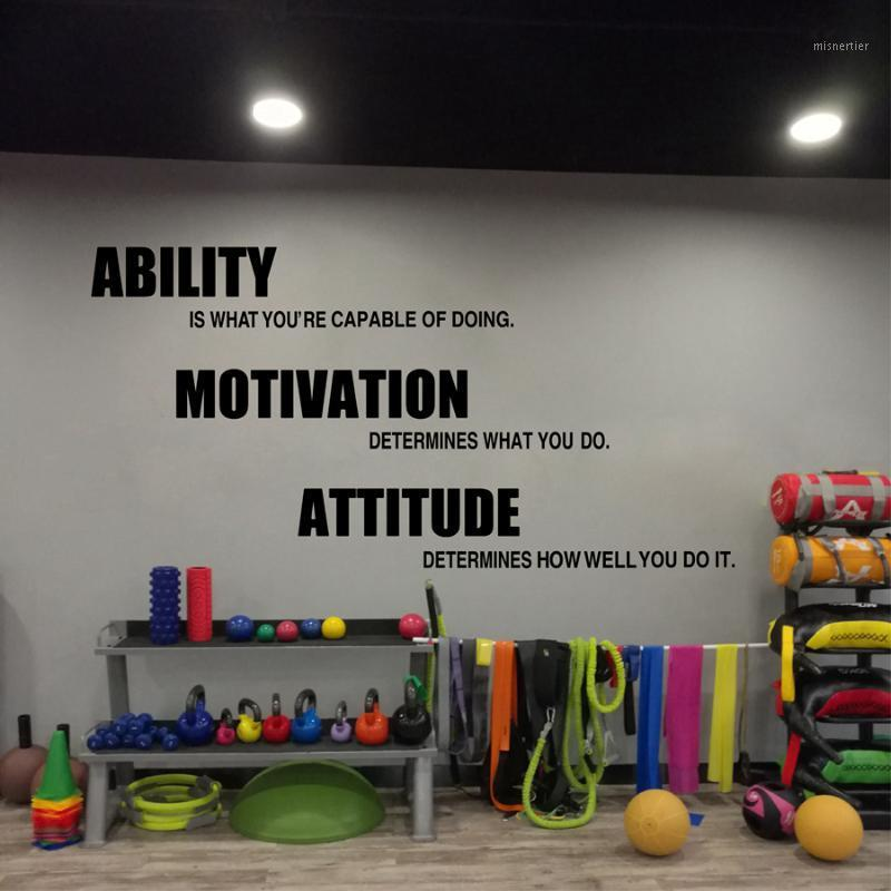 Carteles de la pared de la pared del gimnasio, cotizaciones de fitness motivacional Pegatinas de pared - Habilidad, Motivación, Actitud Gimnasio Decoración1