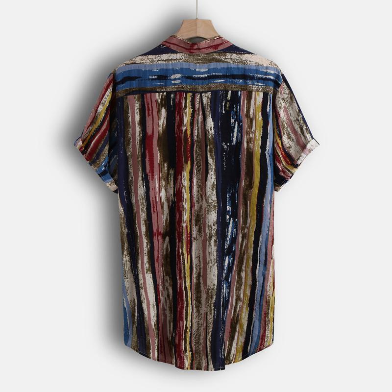 Camisa para hombre 2020 Playa de verano Soporte de moda Strip de cuello de impresión de manga corta Hawaiian Cool Casual Follool Camisa de vacaciones Top Camisas1