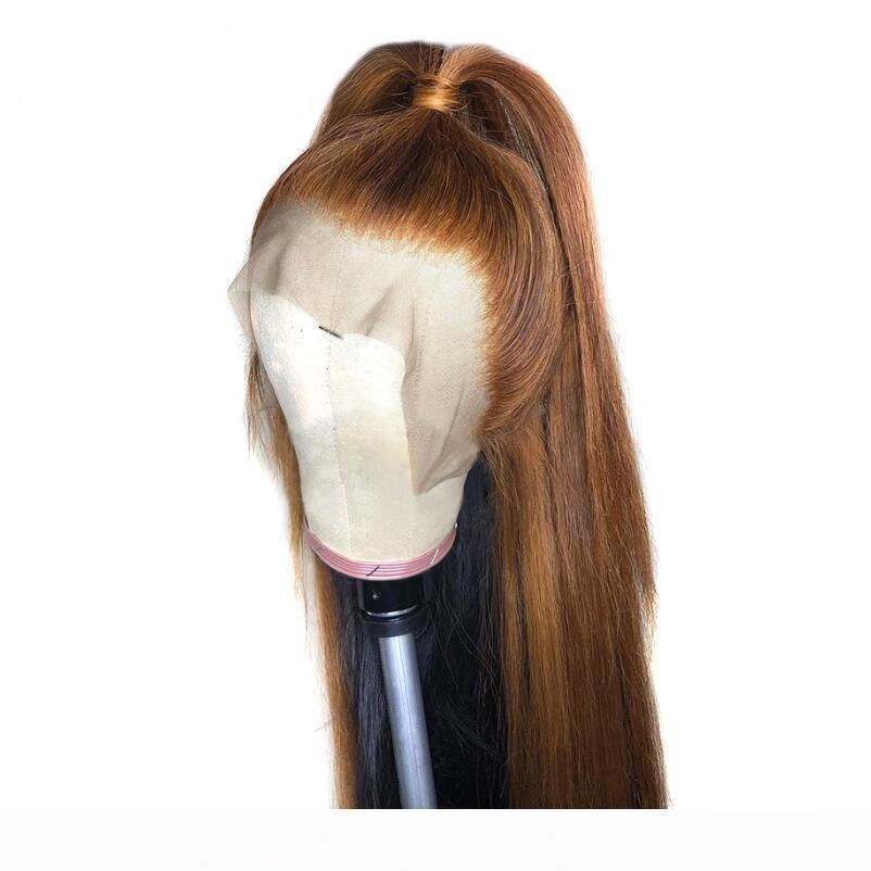 PAFF brasilianische Remy Haar-13 * 6 tiefere Teil-Spitze-Front-Perücke Gerade Honey Blonde Farbe Pre Zupforchester Gebleichte Knoten-Spitze-Perücken