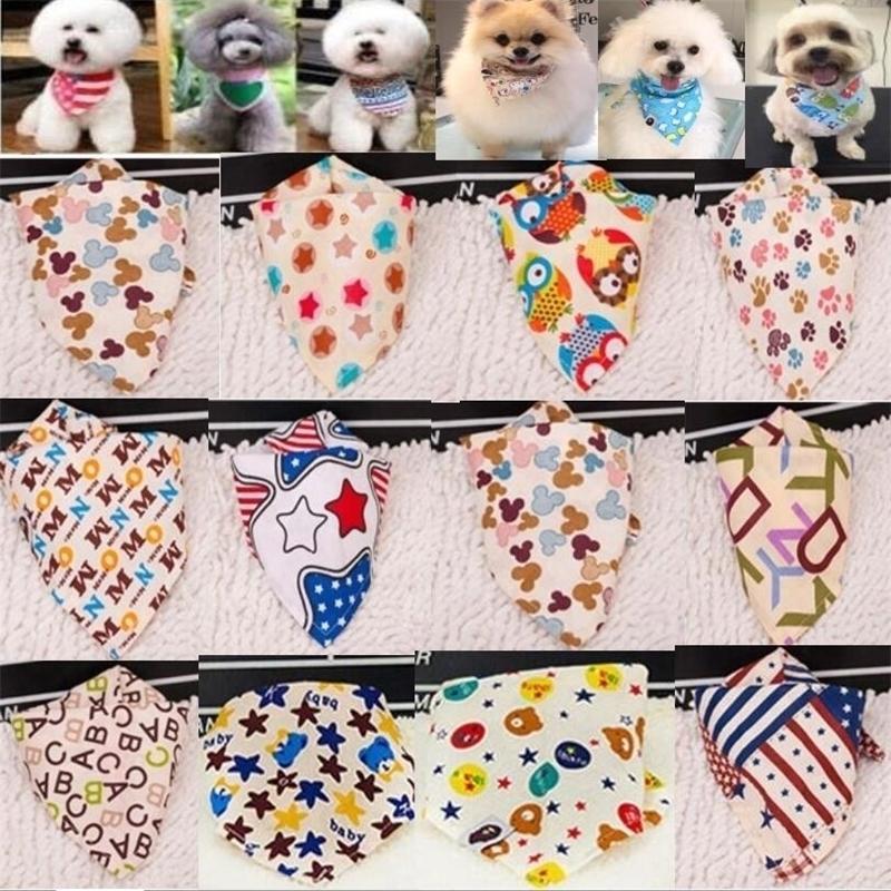 100 pz / lotto all'ingrosso nuovo arrivo mix 60 colori cane cucciolo pet bandana colletto cotone bandanas animali domestici tie grooming prodotti SP01 201028