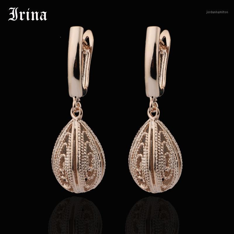 Stud Irina 585 Rose Gold Ohrringe von Frauen oval Hohl Lange Mode Boho Stil Ohr Schmuck Mujer Moda 20211