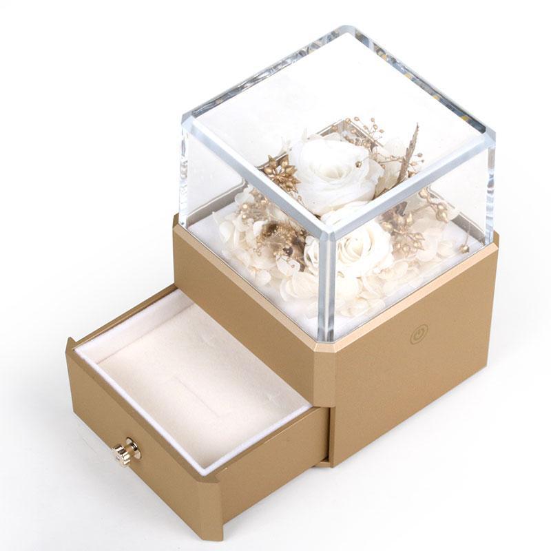 New Gold Acryl Plasctic Ewige Rose Blume mit Schublade Schmuck Ring Ohrring-Anhänger Carring Kasten 4 Farben erhältlich für Geschenke