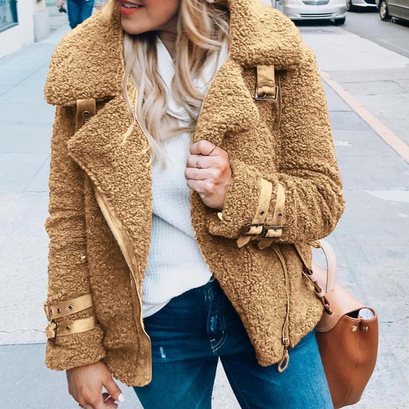 Мода женская сплошная зимняя теплая варевая одежда из искусственной шубы. Оторочный воротник женская куртка женская повседневная пальто пальто outcoot outercoat1