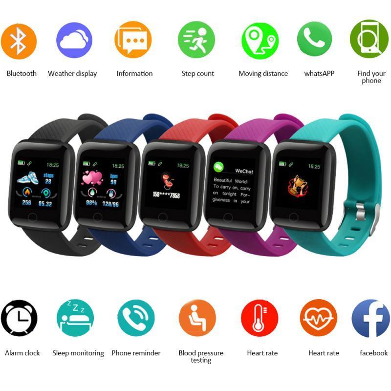 116 PLUS Смарт Браслет цветной экран Мониторинг Трек Смарт часы Механизм защиты IP67 водонепроницаемый SmartWatch сердечного ритма артериального давления