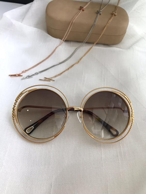 Moda padrão espiral redondo retro novo quadro 114S populares designer de óculos de sol de qualidade proteção da cor luz decorativa top 114 com corrente