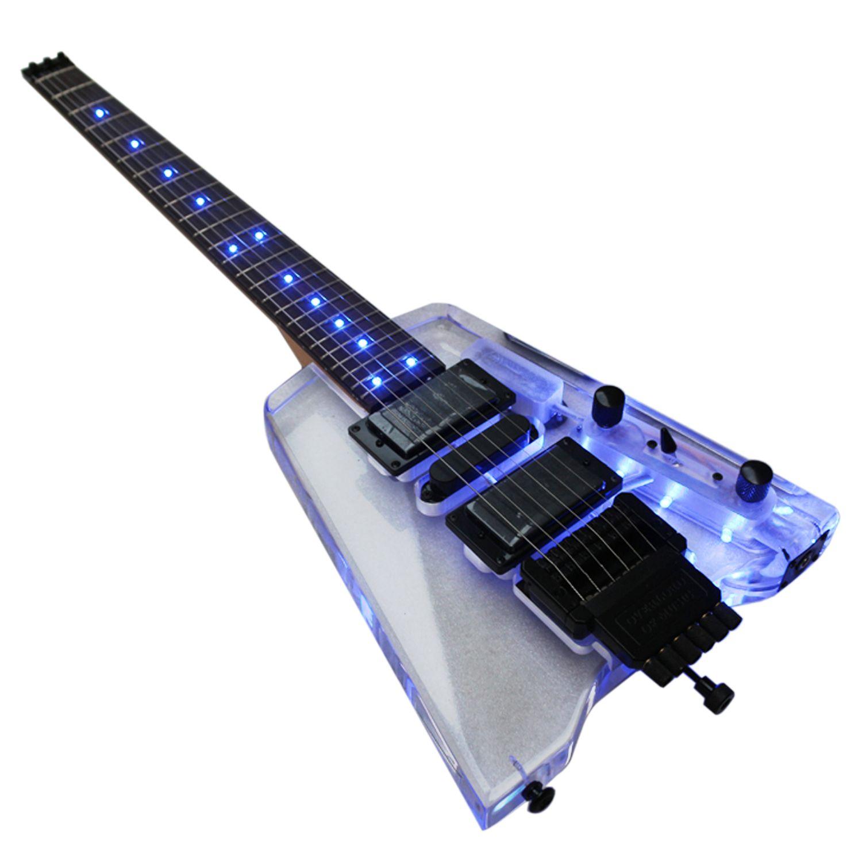 buena calidad sin cabeza portatil de acrílico de mini guitarra eléctrica con el envío libre de la luz azul