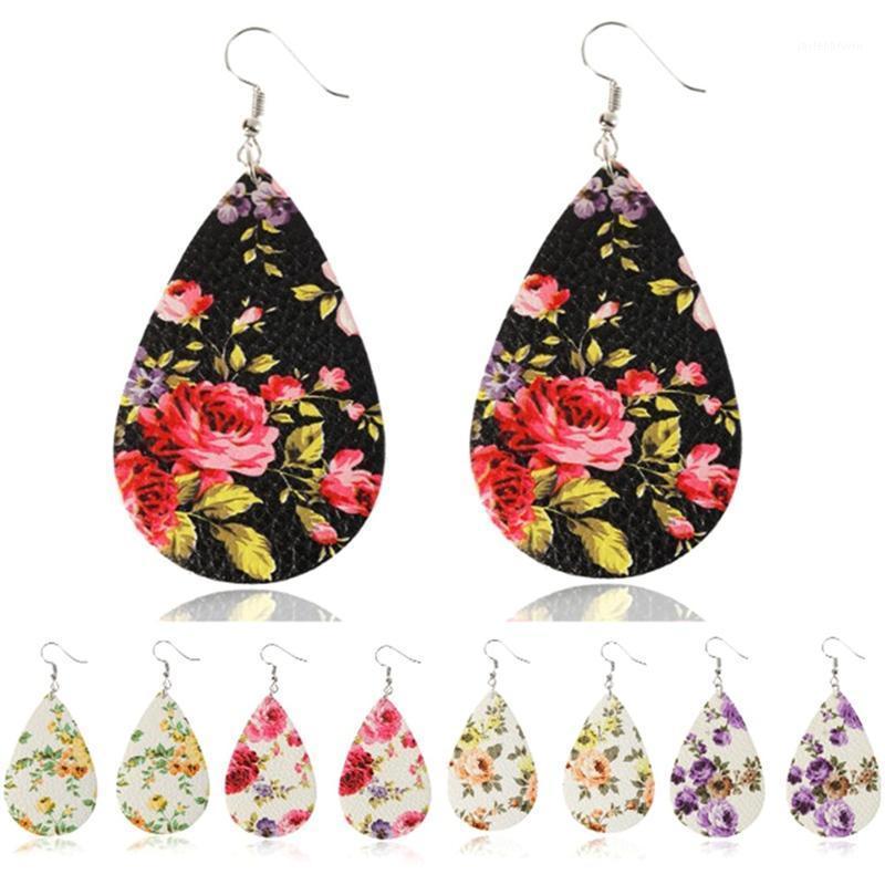 New Fashion Spring Stampato Orecchini in pelle rosa fiore per le donne Boho Personalizzato Argento Goccia d'argento Coreano Goccia Goccia Gioielli1