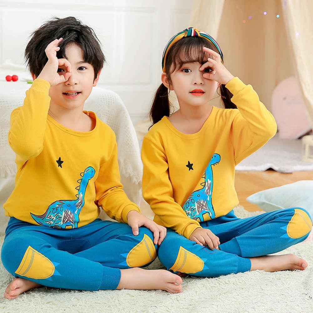 roupas roupas íntimas outono infantil novo inverno conjunto homens e mulheres algodão em volta do pescoço pijama