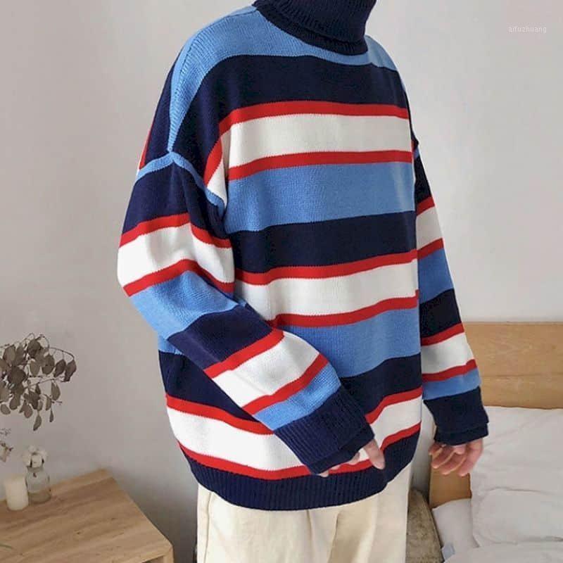 Мужские свитера пара вершины осень зима толстый теплый полосатый свитер повседневная водолазка пуловеры вязаные женские одежда Tops1