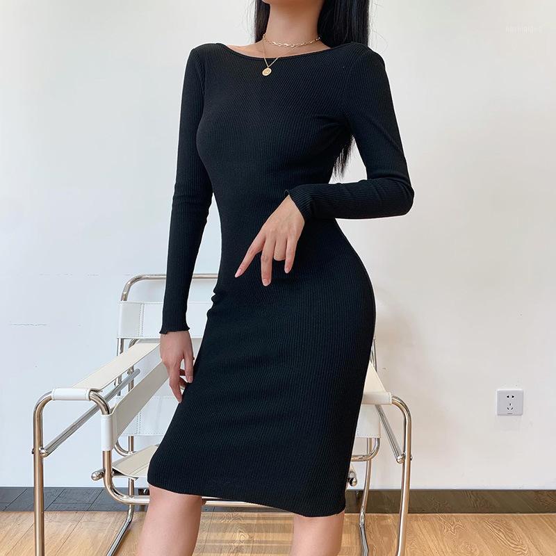 Europäischer und amerikanischer Herbst langärmelige sexy Kettenkleid Frauen Europäische und amerikanische Mode Halfter Slim Fit Hüftkleid Frauen1